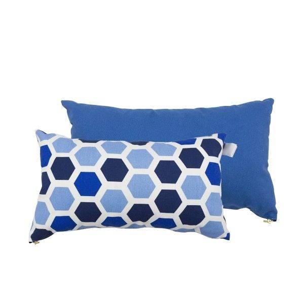 Set van 2 kussens Kleur Blauw Patroon asymmetrisch met 3 tinten blauw Afmeting 45x25cm