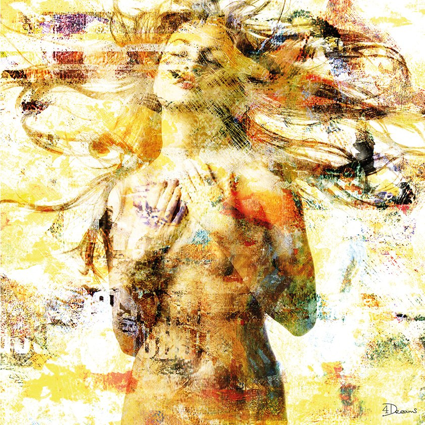 Girl on white and gold posing Aluart