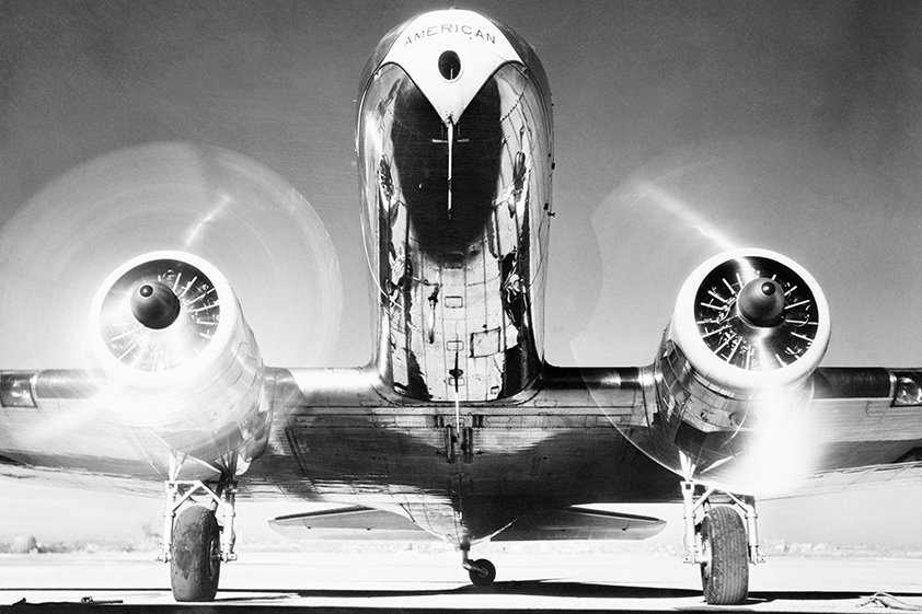 Front view of passenger airplane Aluart