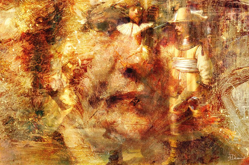 Abstract Red Nightwatch Rembrandt Aluart