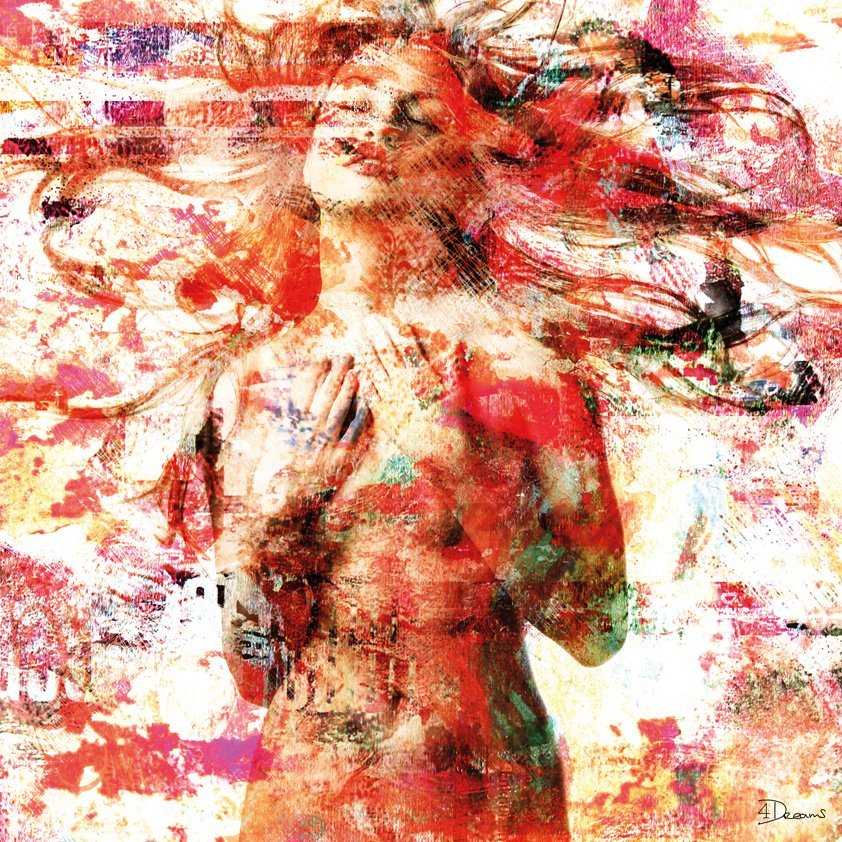Naked Girl on white and red Aluart