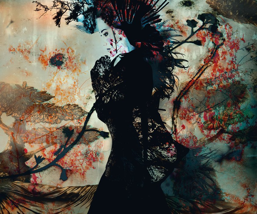 Silhouette of female model with flowers Aluart