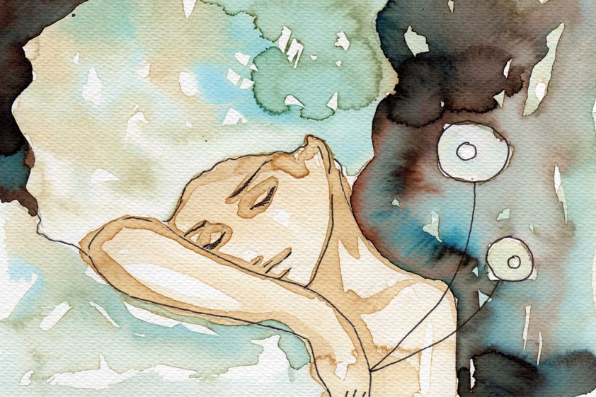 Watercolor painting of a girl sleeping Aluart
