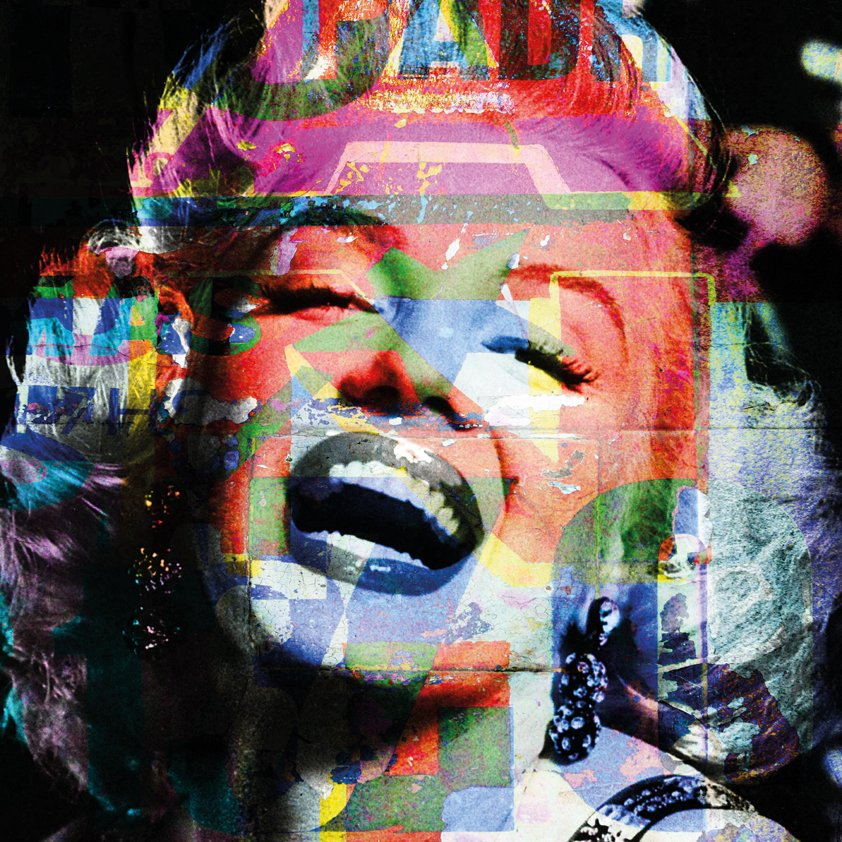 Marilyn laughing in Colour Aluart