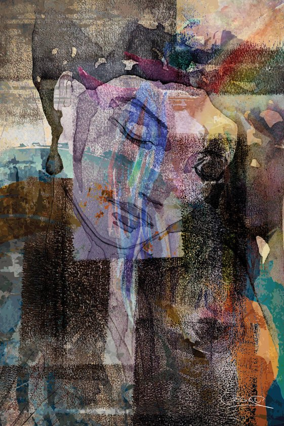 Abstract Woman closing her Eyes Aluart