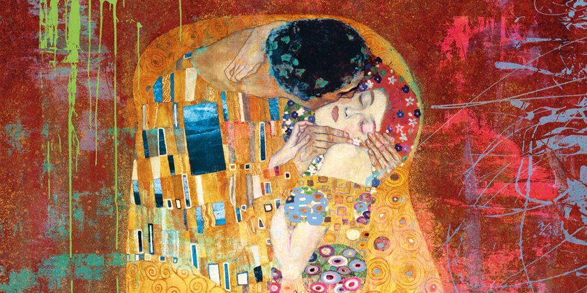 Embracing and kissing for Love Aluart