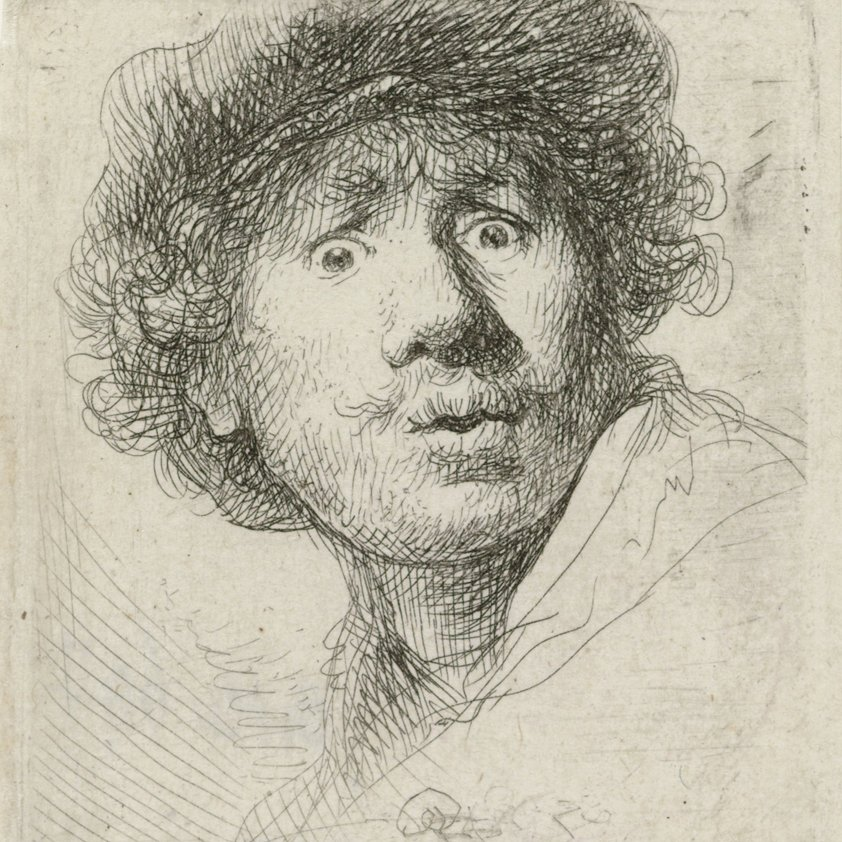 Rembrandt selfie, wide eyes and open mouth Aluart