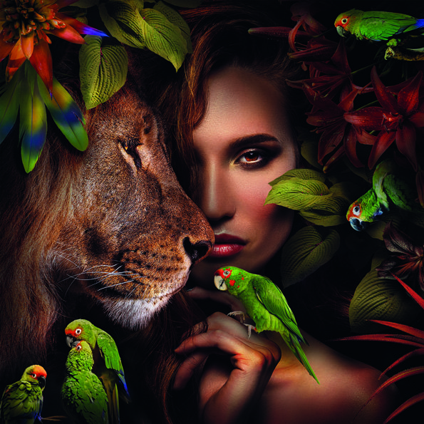 Woman with Lion and Parrots Aluart