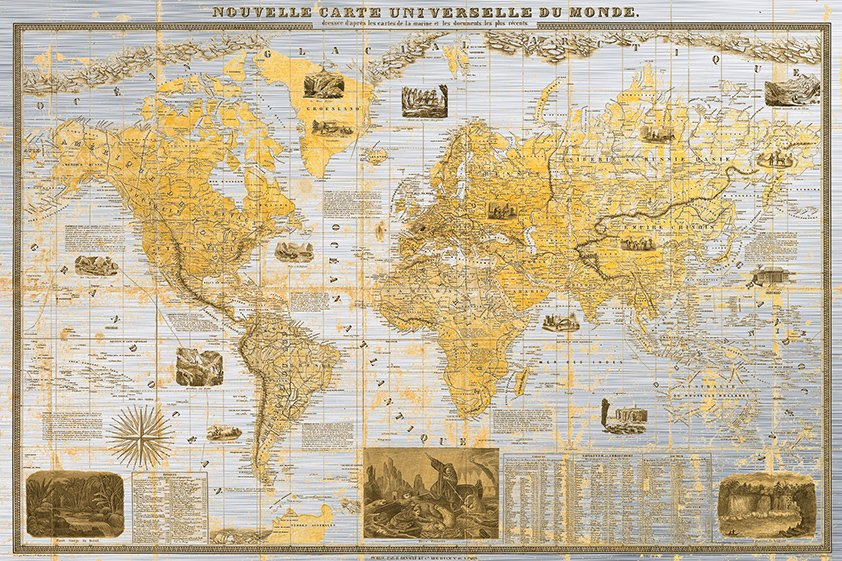 Gilded 1859 Map of the World Aluart