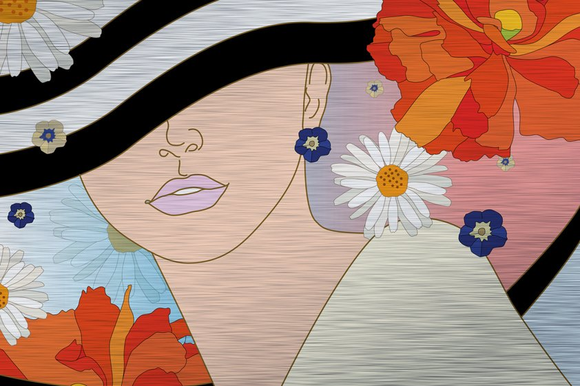 Abstract Woman in striped Hat Aluart