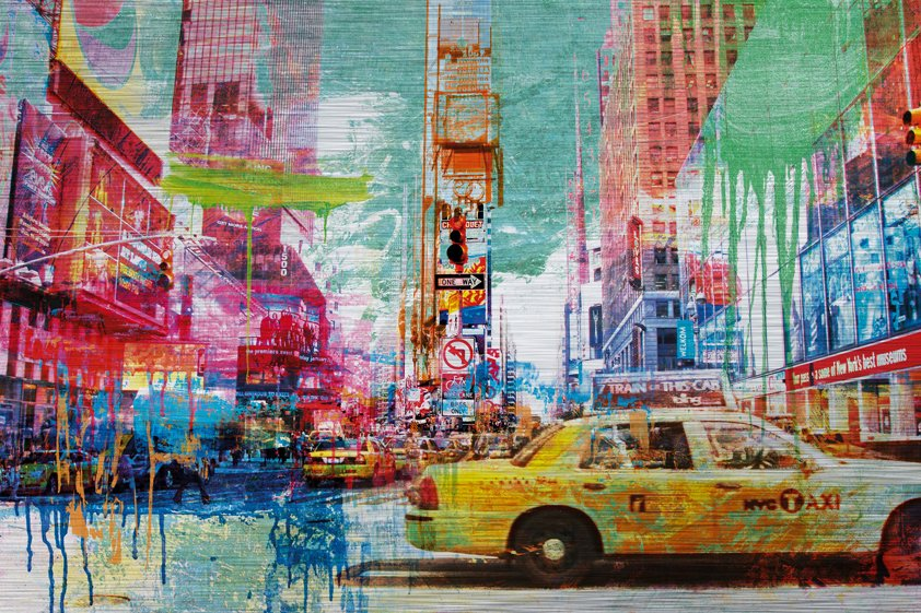 Taxis in Crowded and Colorful Times Square Aluart