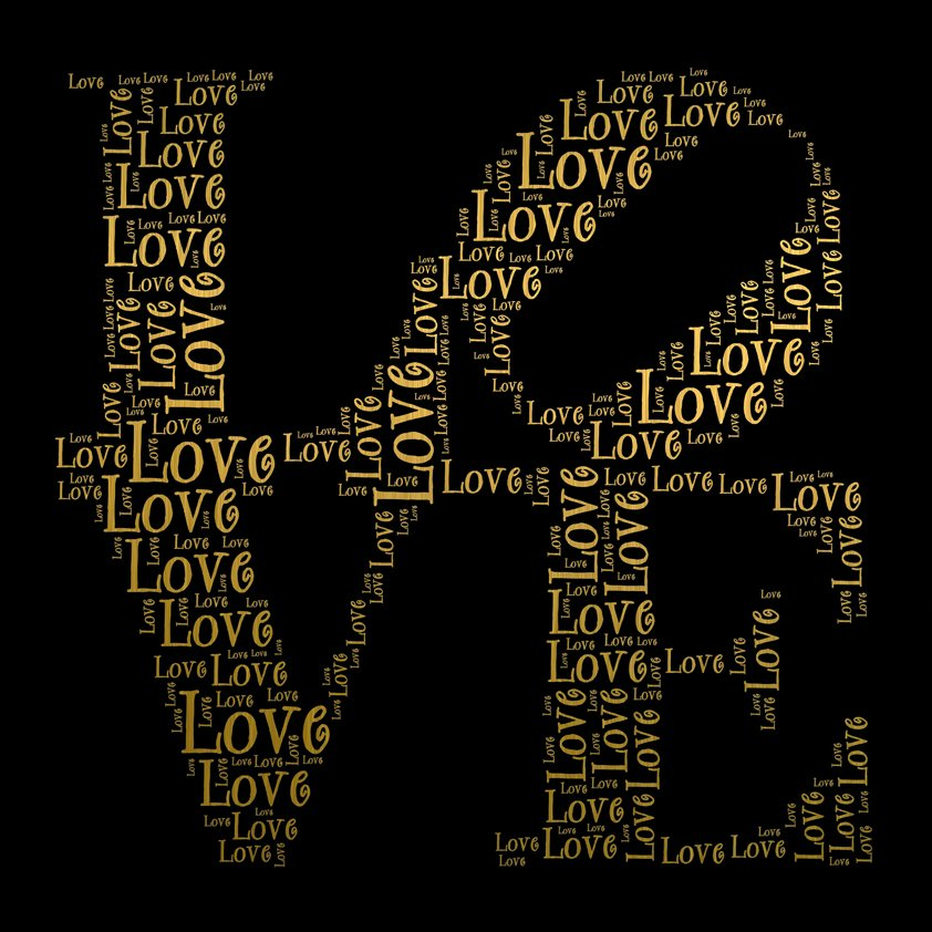Love in word collage Aluart MA