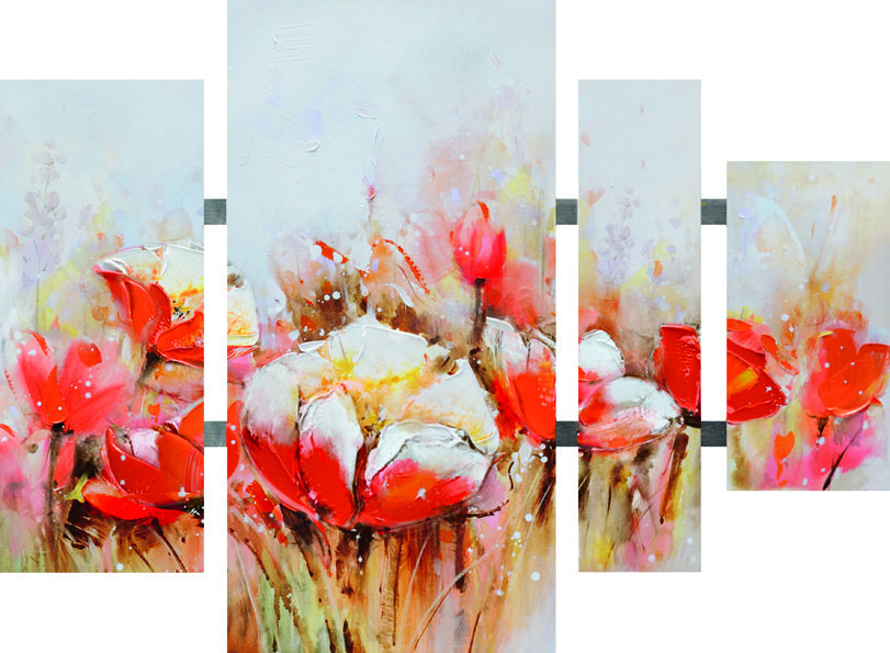 Canvas, Flower Red with Tubes