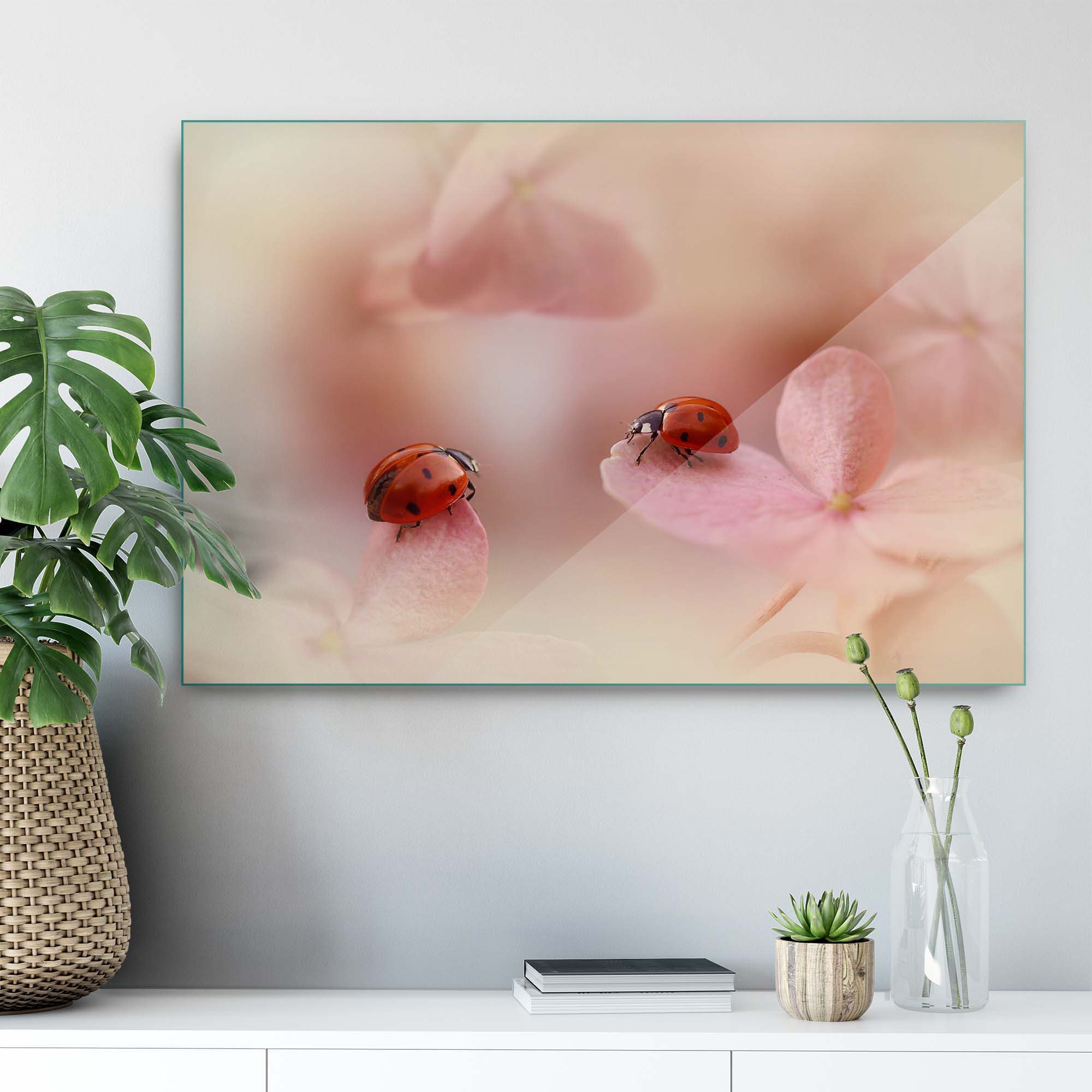 Glass printed Ladybirds on Pink Flower