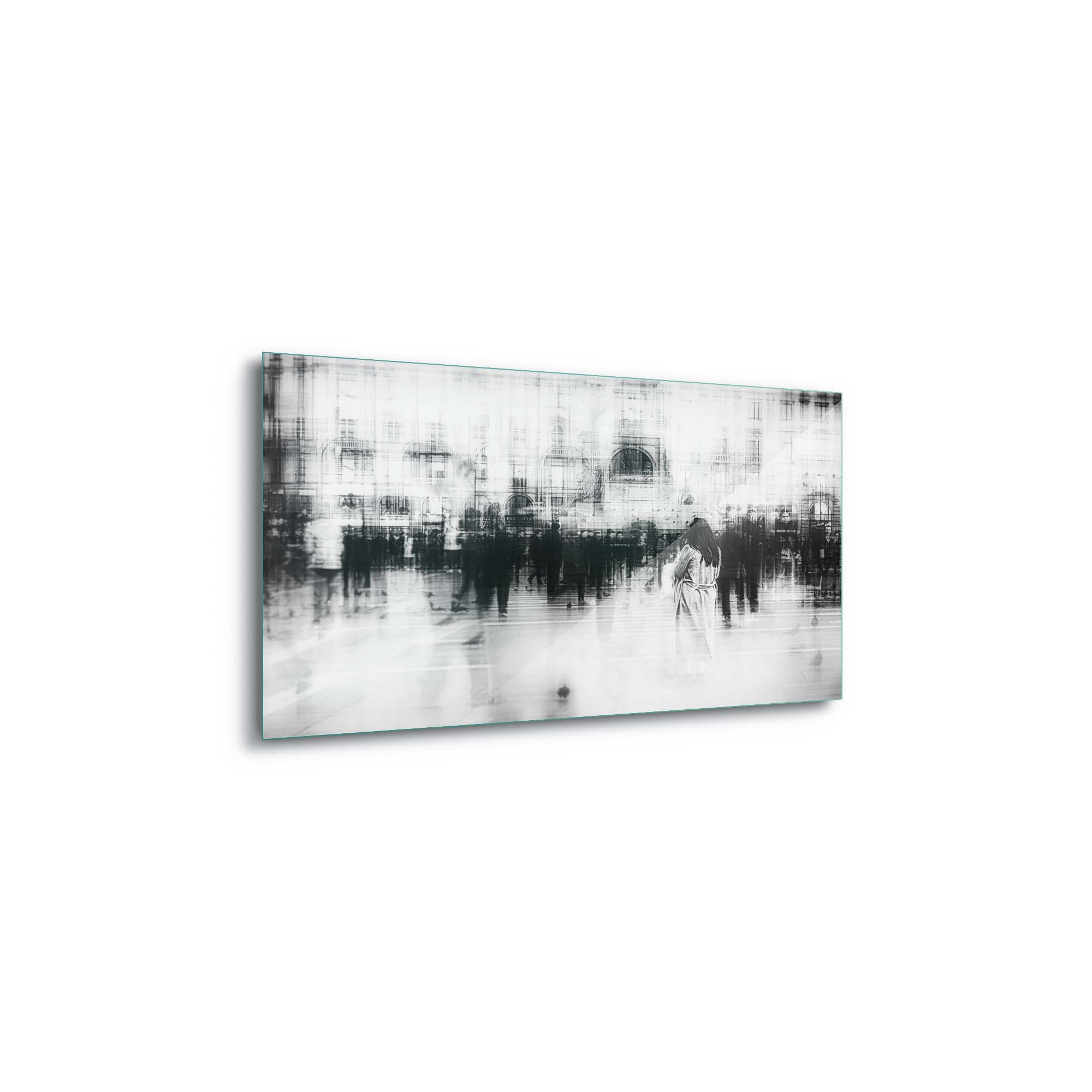 Glass printed Women Facing People in a City