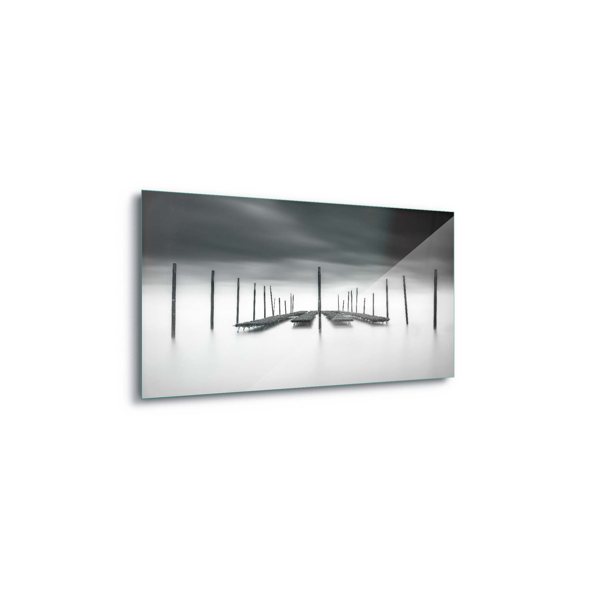 Glass printed Beds On White Background