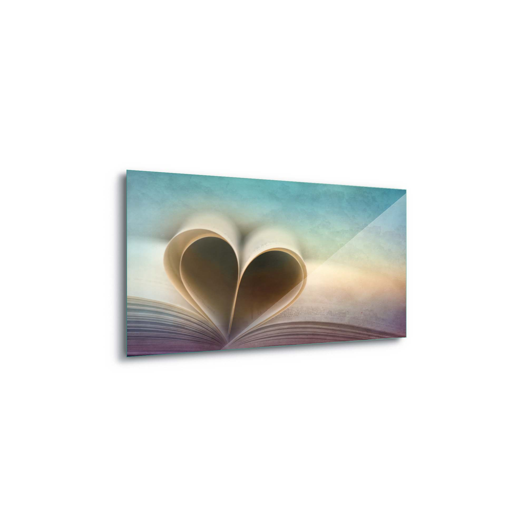 Glass printed Book with a Heart