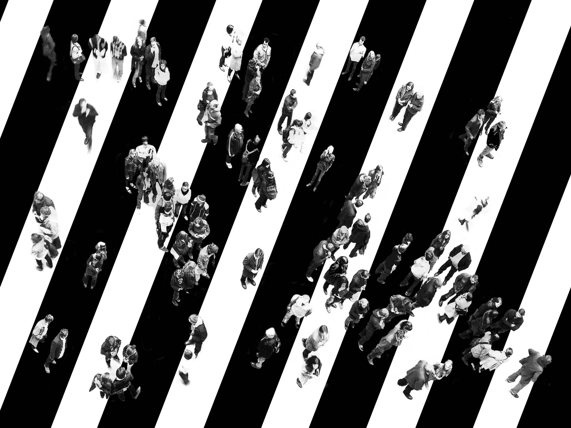 Glass printed People Standing on Zebra Stripes