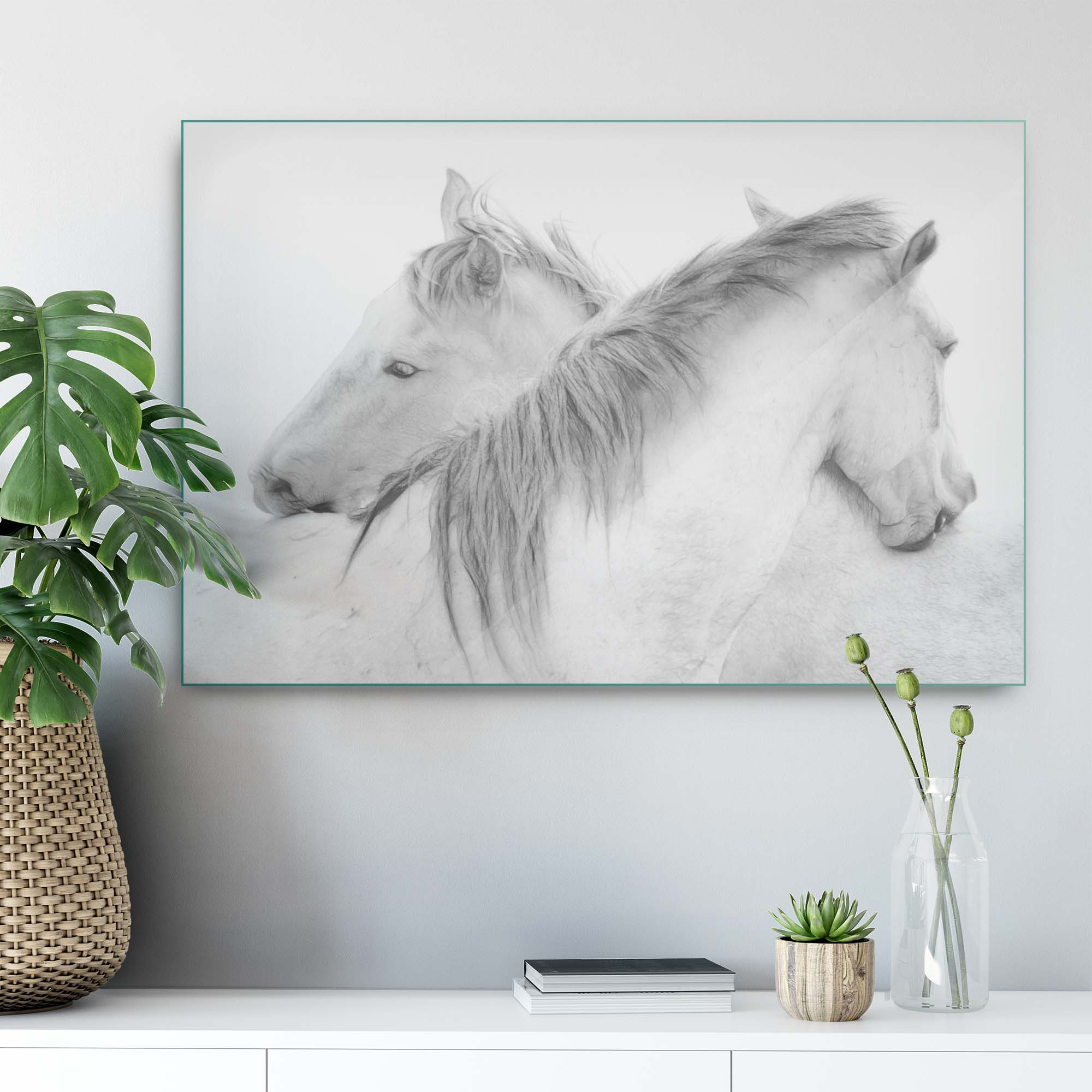 Glass printed Horses hug each other