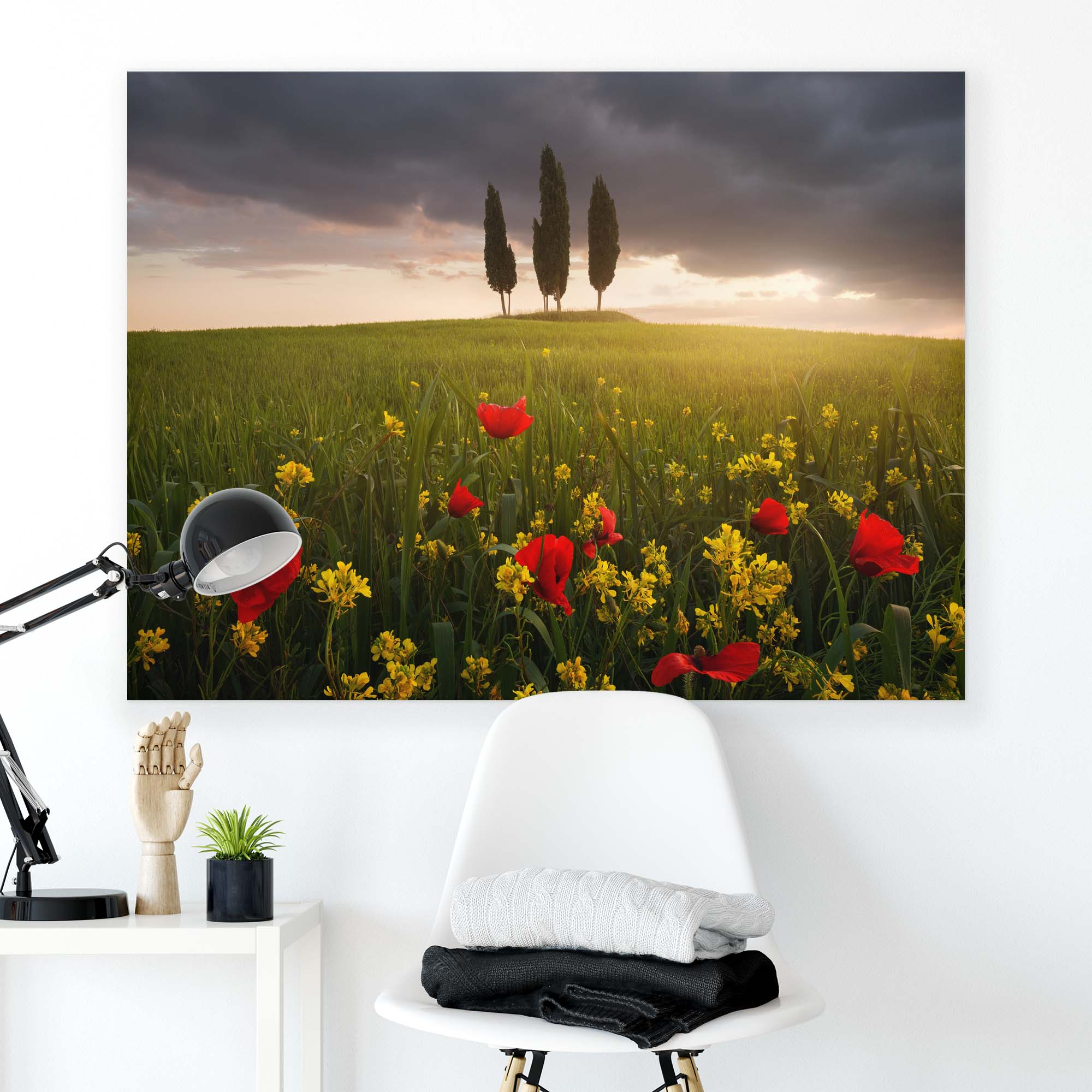 Canvas artwork Flowers on The Field With Trees