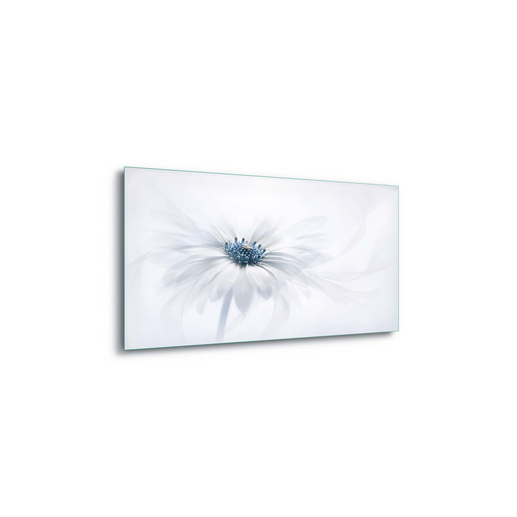 Glass printed White Flower in Background