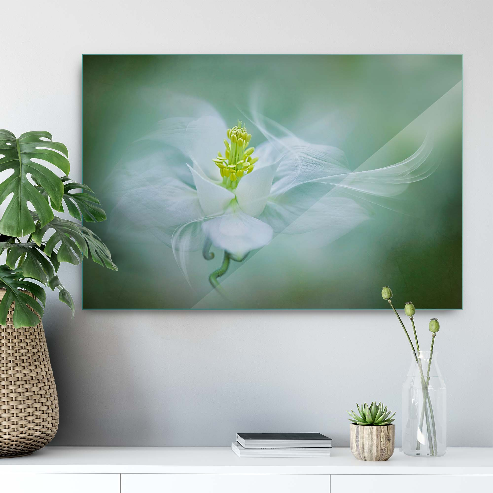 Glass printed Flower in Green Background