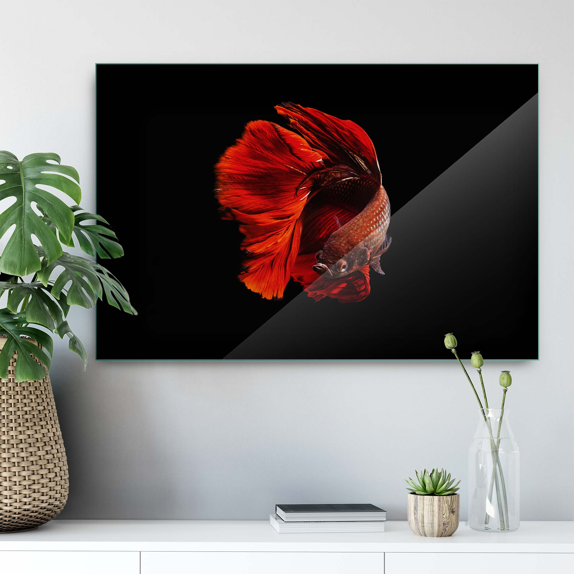 Glass printed Red Fish with Fins