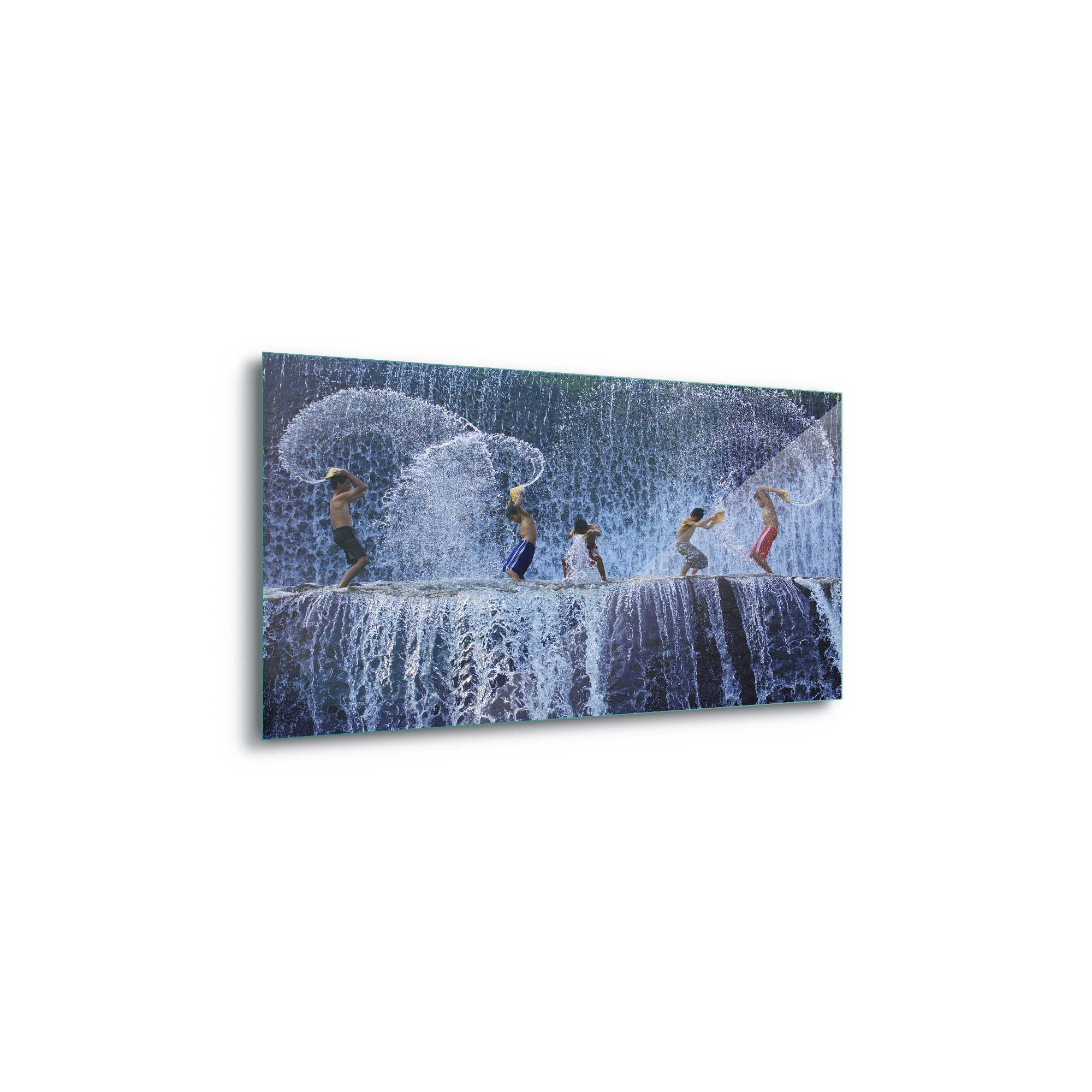 Glass printed Kids Playing in the Water