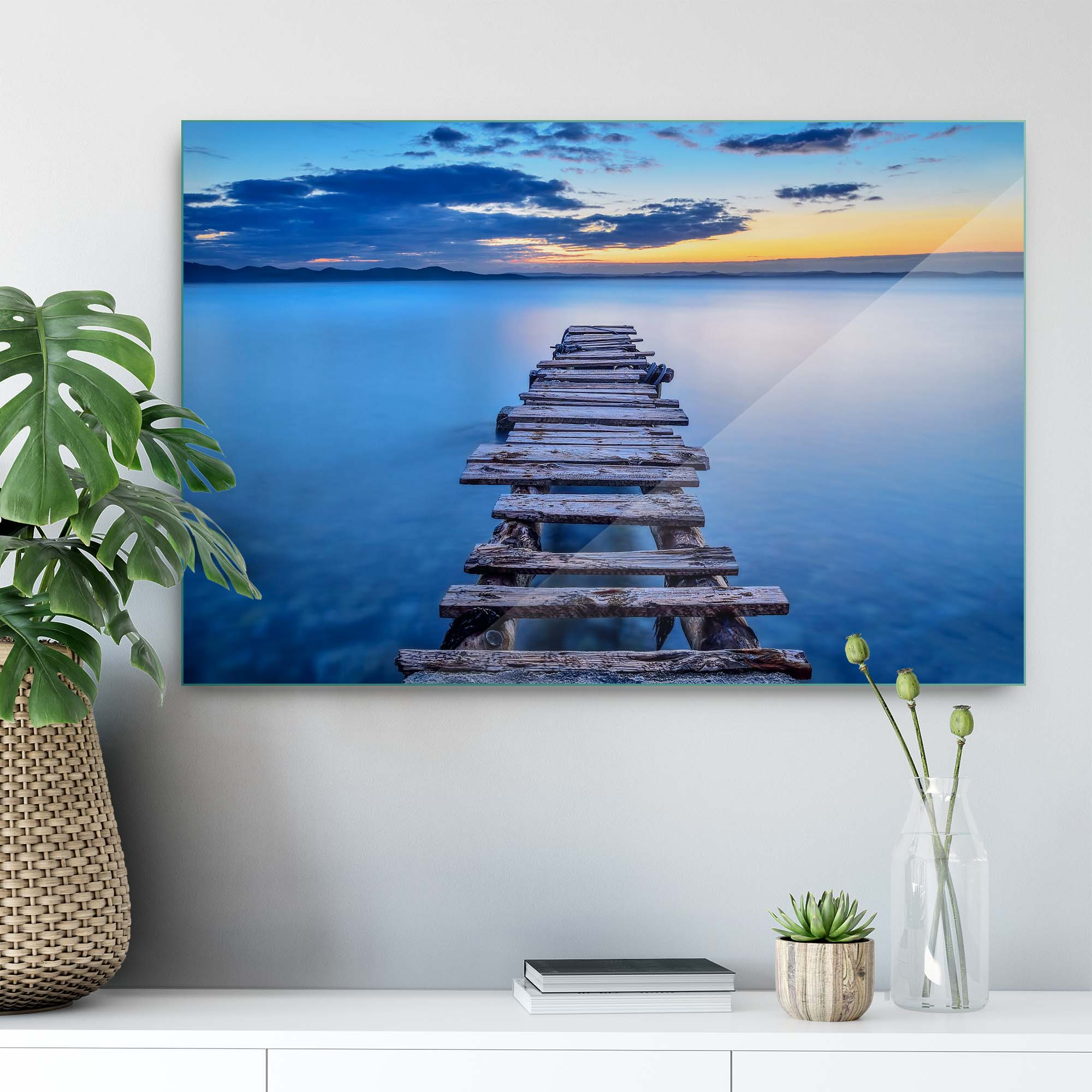 Glass printed Bridge on Clear Blue Water