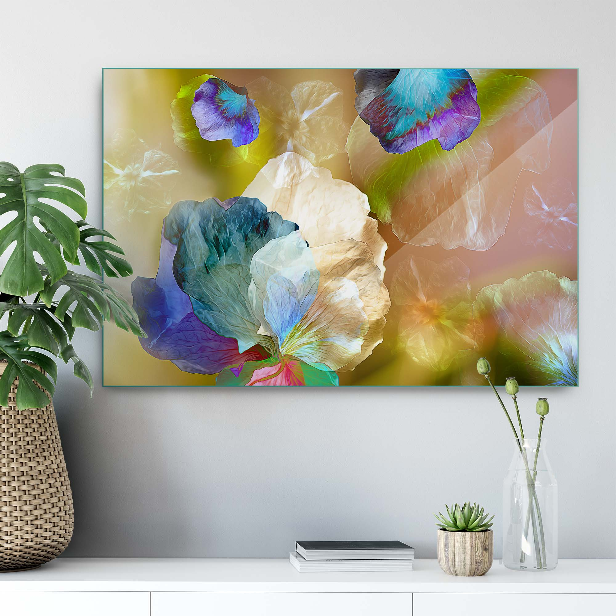 Glass printed Floating Petals