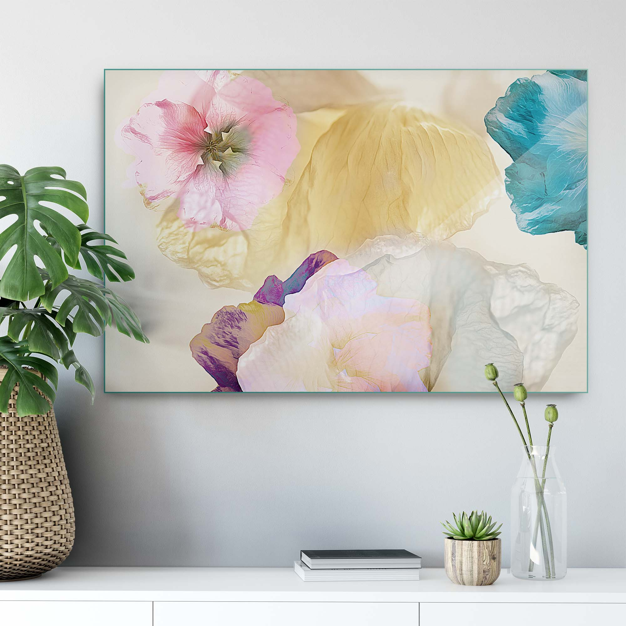 Glass printed Ethereal Flowers