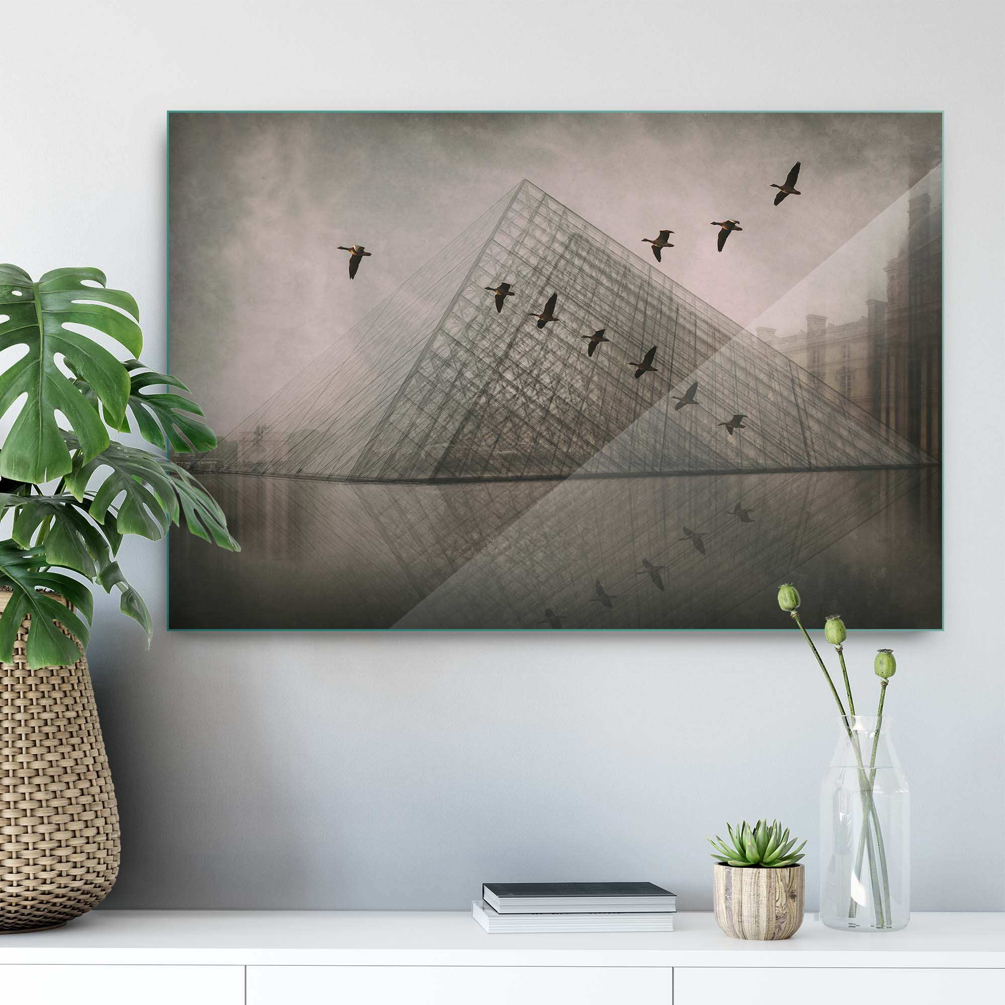 Glass printed Pyramid with Birds