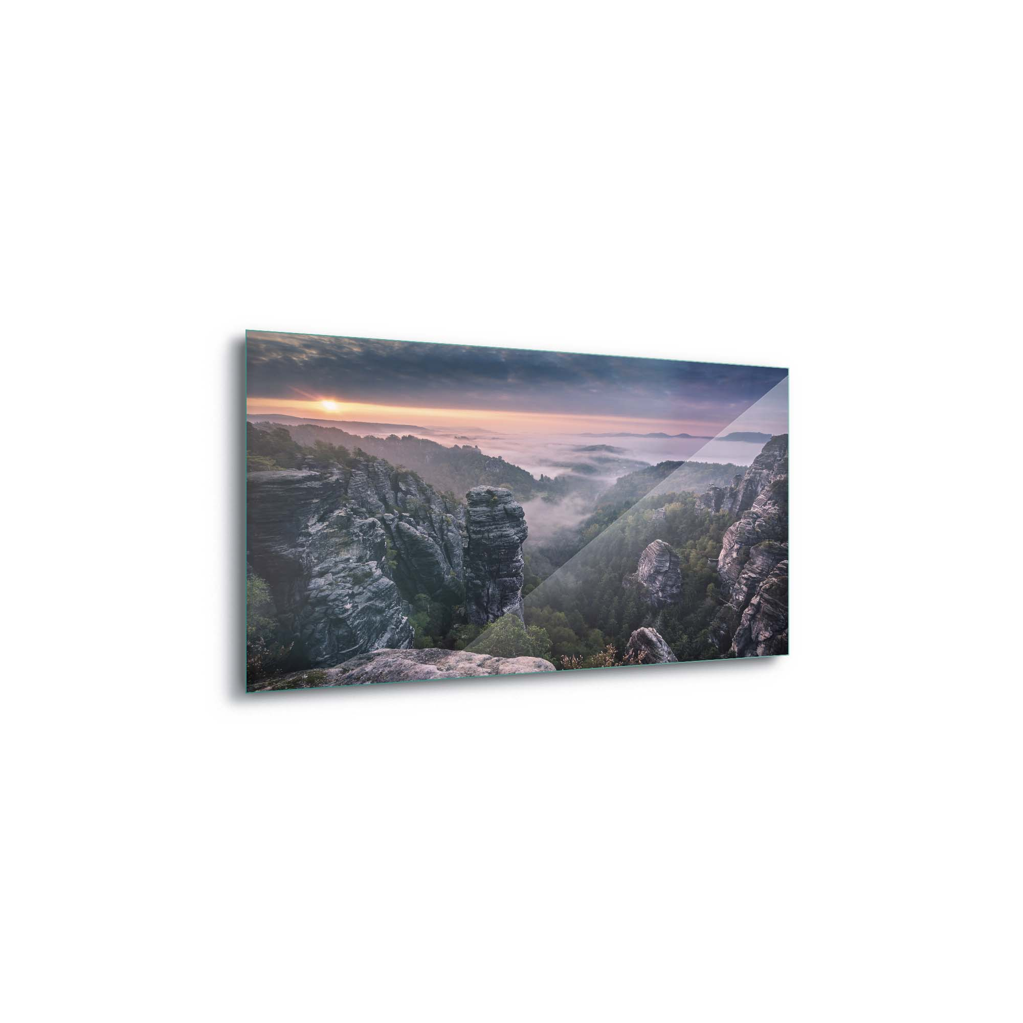 Glass printed Sunset at The Mountains