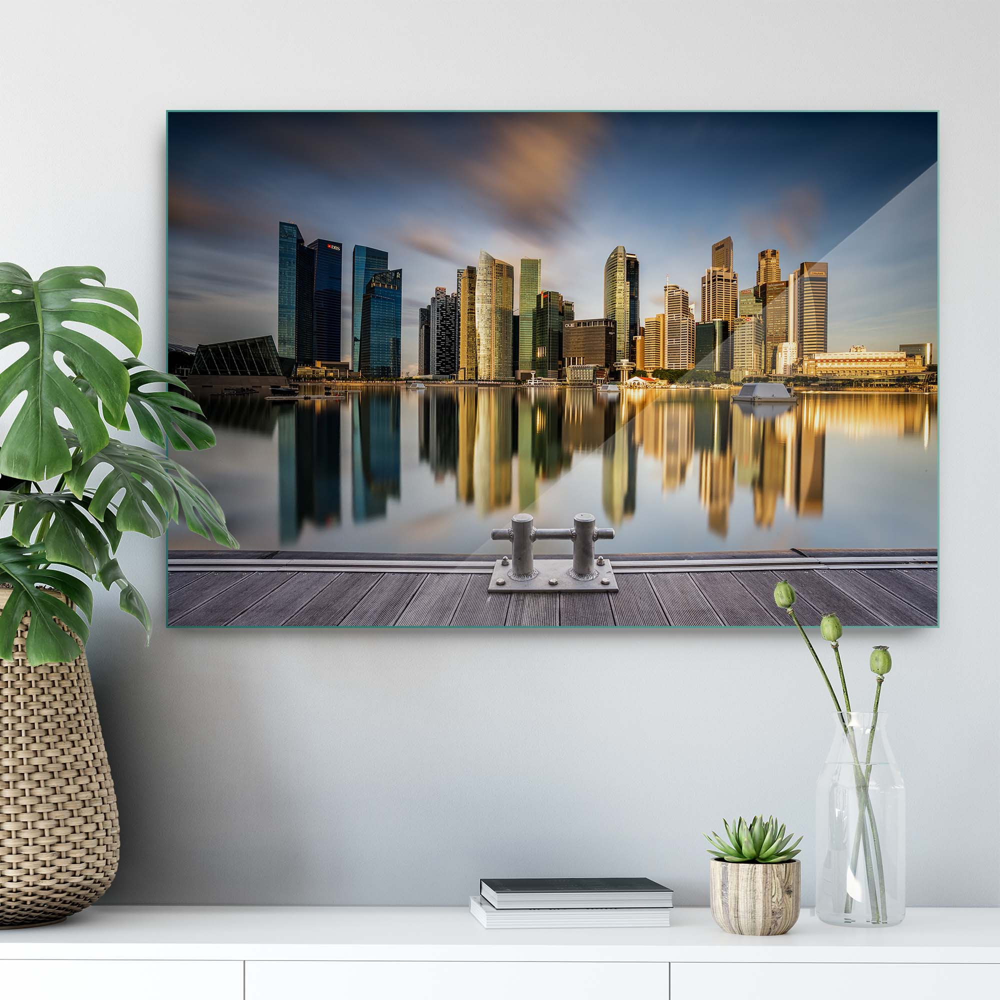Glass Printed Golden Morning in Singapore