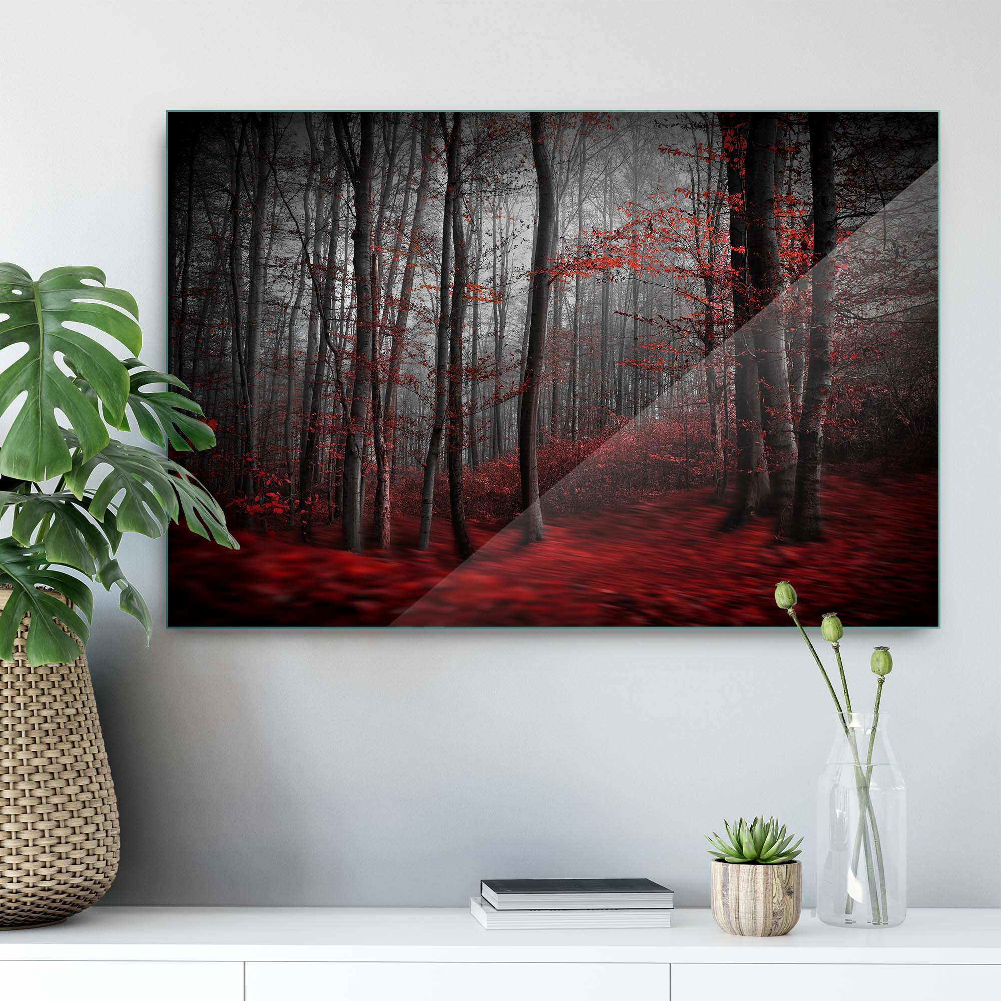 Glass printed Forest With Red Leaves