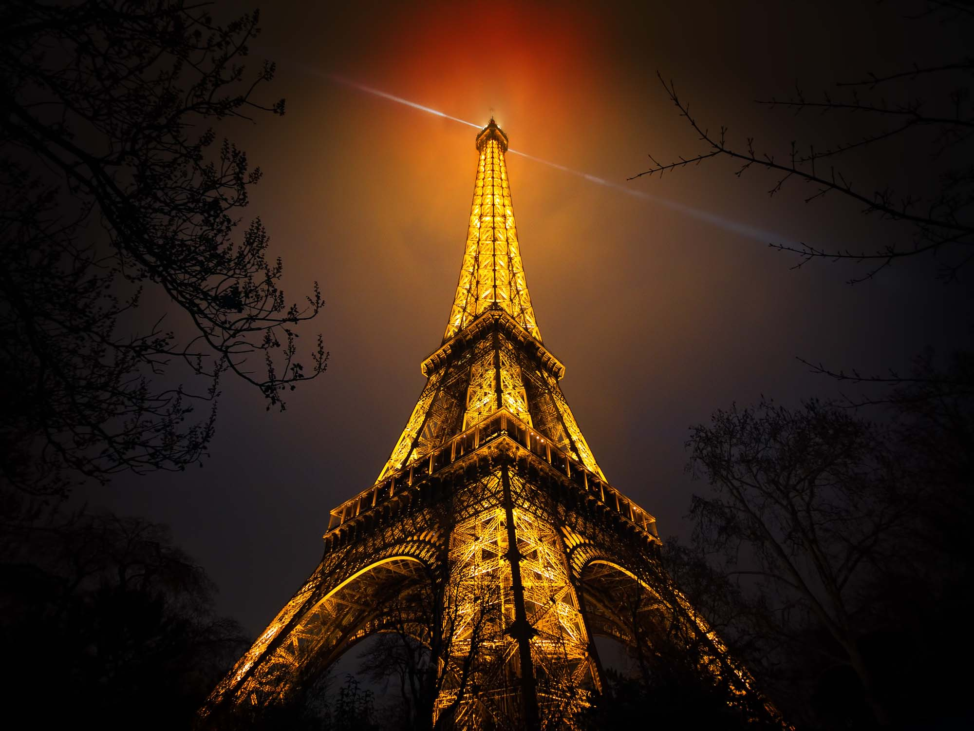 Glass printed Eiffel tower During The Night