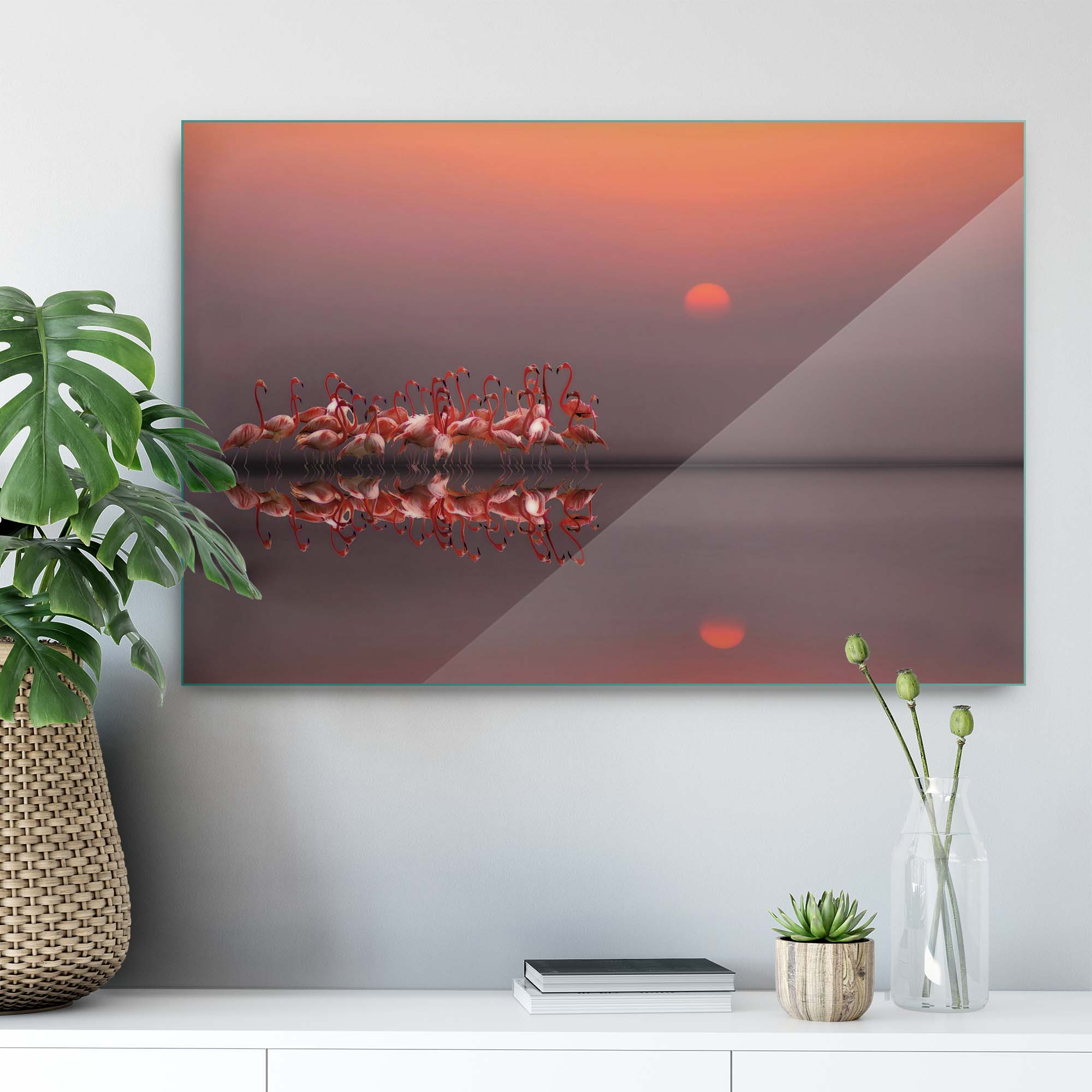 Glass printed Flamingo Family at Sunset