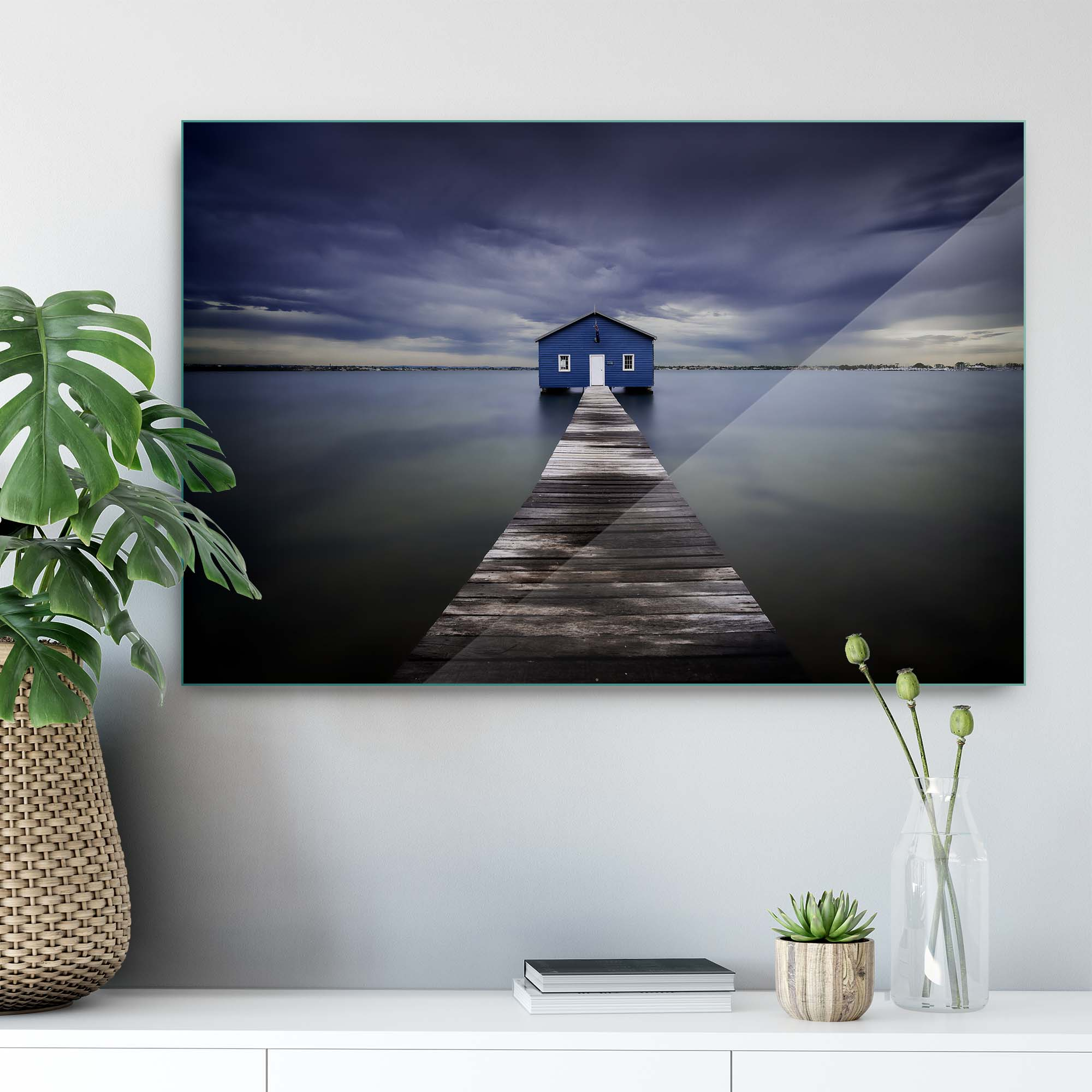 Glass printed Blue House on Water