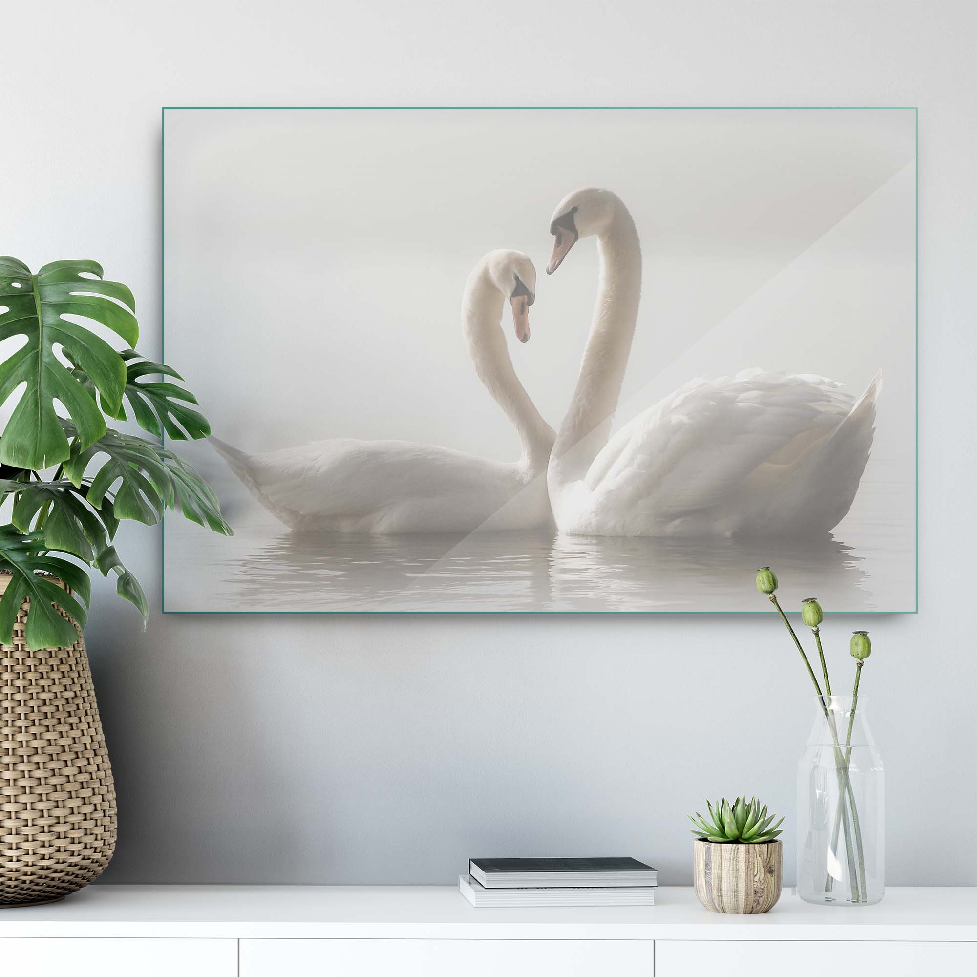 Glass printed White Swans
