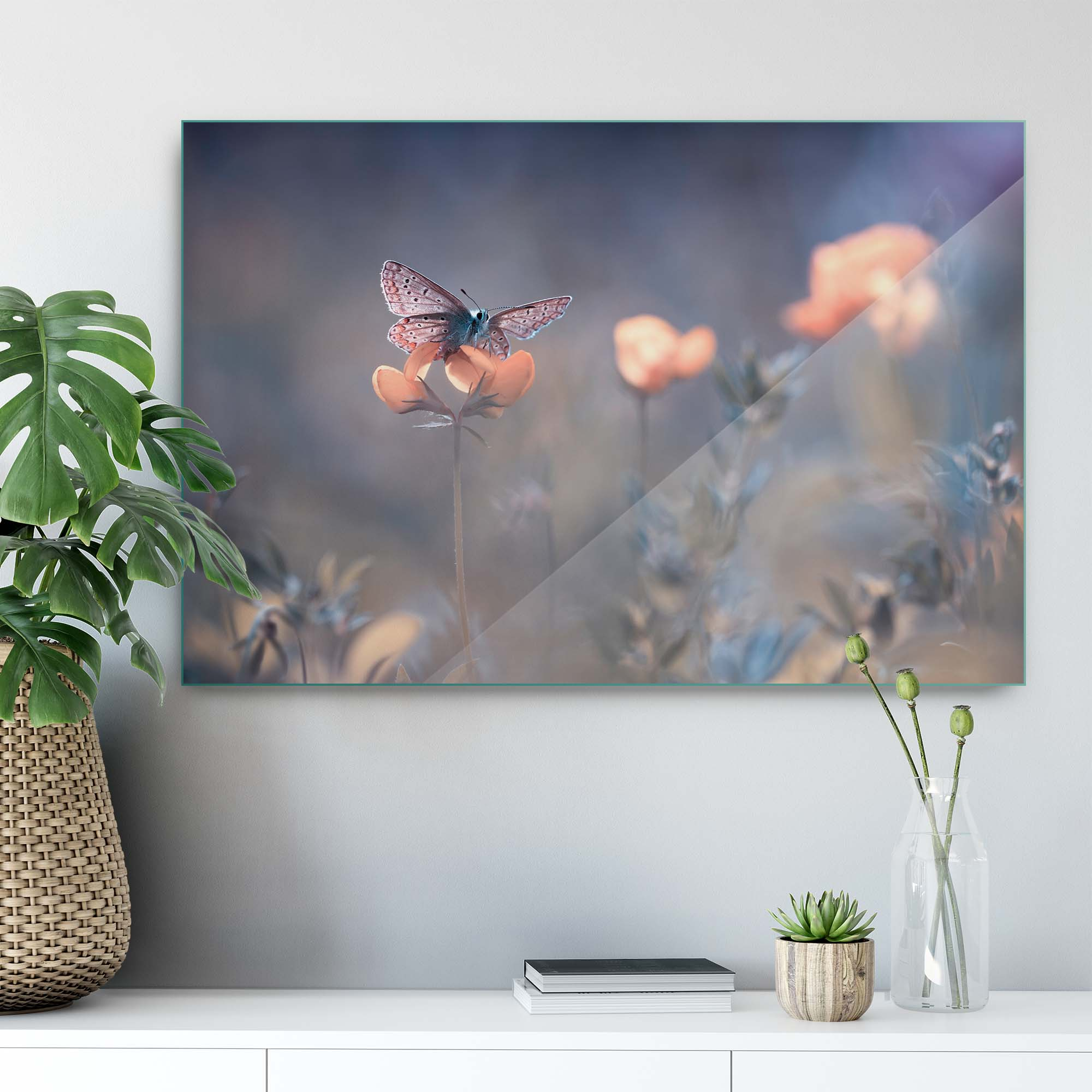 Glass printed Butterfly on an Orange Flower