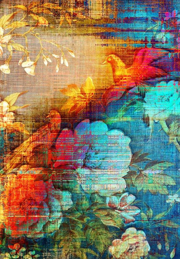 Design Tapijt Colored Birds and Tree