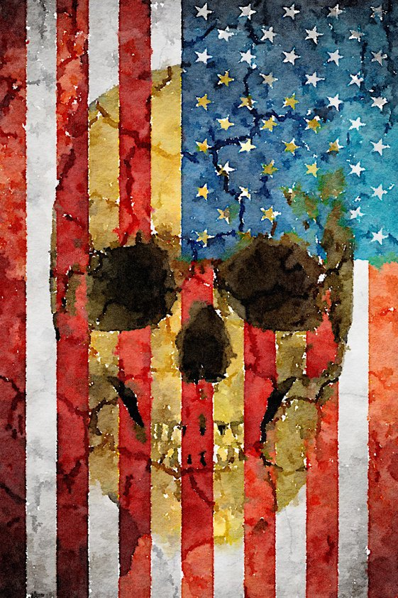 Design Tapijt US flag with Skull