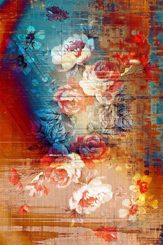Design Tapijt Flowers in Blue en Red