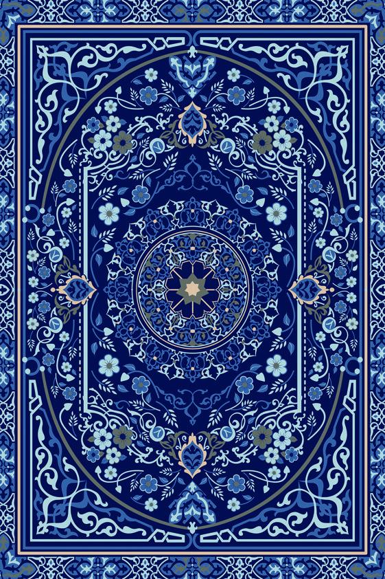 Design Tapijt Mysterious Blue Pattern