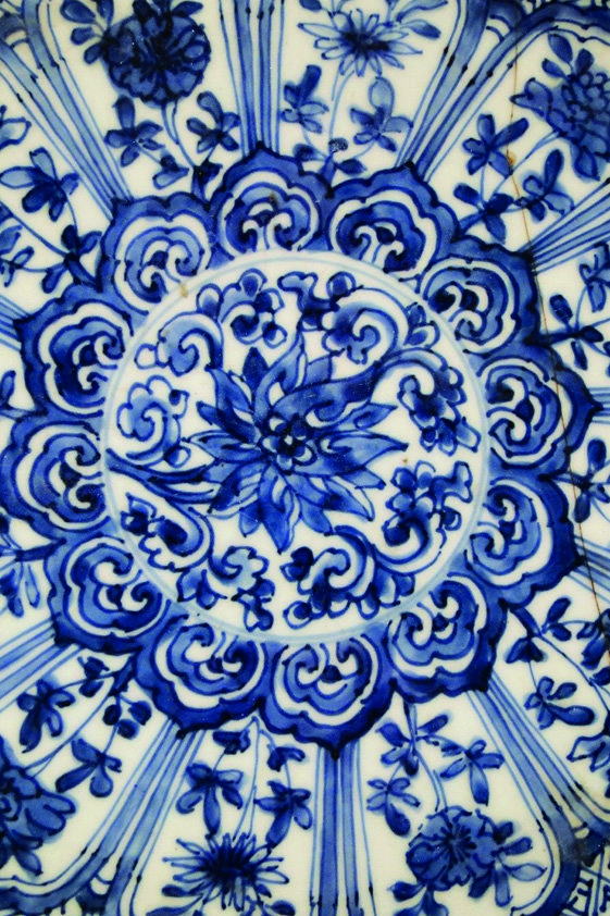 Design Tapijt Flower in blue Pattern