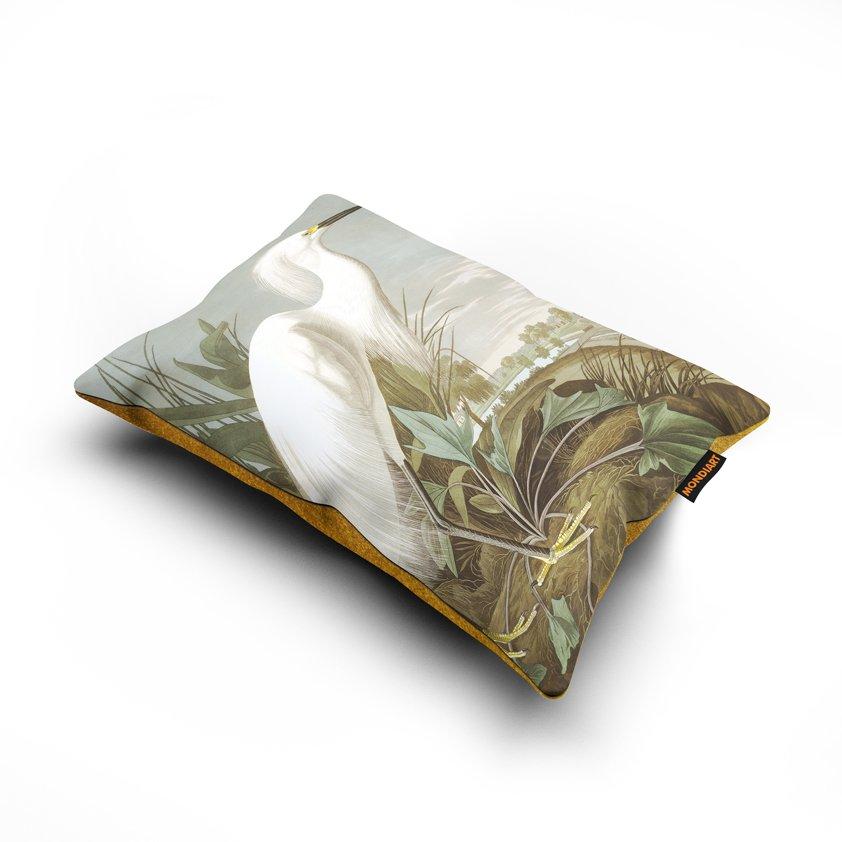 Cushion set/2, Snowy Heron - bird