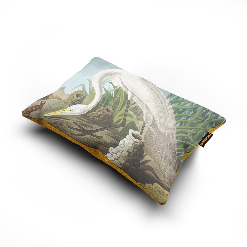 Cushion set/2, White Heron - bird