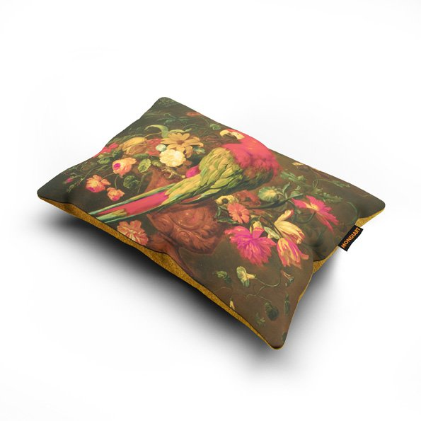 Cushion set/2, Parrot and flowers