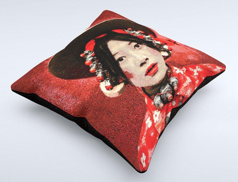 cushion, Tibetan girl red