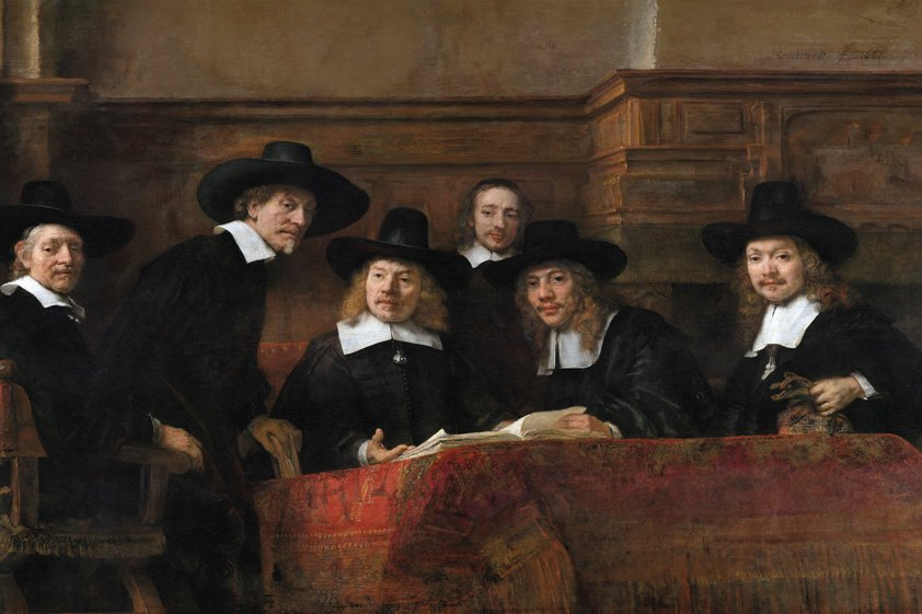 Tuinschilderij Lawyers talking about the Proces
